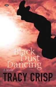A book cover, showing dust covering the sun with a reddish hue, and the silhoutte of a figure mid-somersault against the dust